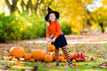 Little Girl In Witch Costume On Halloween Trick Or Treat Royalty Free Stock Images - 99107779