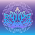 Stylized Lotus Flower Logo In Shades Of Blue And Purple Framed With Round Floral Mandala On Gradient Background Hand Drawn Fantasy Stock Photos - 99117193