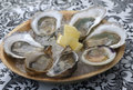 Raw Oysters And A Littleneck Clam With Lemon Royalty Free Stock Photography - 99128987