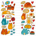 Cats Vector Domestic Cute Kawaii Kittens Japanese Kawaii Style Cartoon Cats Playing Illustratrion For Pet Shop Stock Image - 99139501