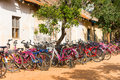 PUTTAPARTHI, ANDHRA PRADESH, INDIA - JULY 9, 2017: Bicycle Parking. Copy Space For Text. Stock Image - 99144811