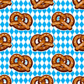 Seamless Pattern With Pretzels For Oktoberfest On Bavarian Flag Background. Stock Image - 99147791