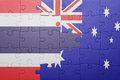 Puzzle With The National Flag Of Thailand And Australia Stock Photography - 99155662