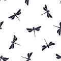 Seamless Pattern With Flying Dragonfly With A Straight Body Royalty Free Stock Photography - 99162067