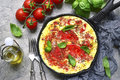 Omelet With Tomato.Top View. Stock Photos - 99165873