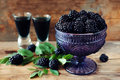 Blackberry Fruit Liqueur In Two Shot Glasses With Berries And Gr Stock Images - 99166544
