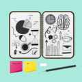 Opened Notebook With Business Project Drawings. Royalty Free Stock Photos - 99167158