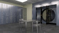 Safe Vault, Inside Of A Bank Vault With Deposit Boxes And Metal Table And Chairs, 3D Illustration Royalty Free Stock Image - 99182176