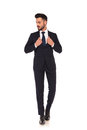 Modern Young Business Man Holding His Suit`s Collar Stock Images - 99189964