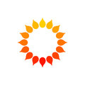 Stylized Sun Logo. Round Icon Of Sun, Flower. Isolated Yellow Orange Red Logo On White Background. Can Use Like Frame. Royalty Free Stock Images - 99194009