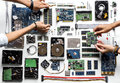 Aerial View Of Hands With Computer Electronics Parts On White Background Royalty Free Stock Image - 99196716