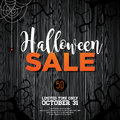 Halloween Sale Vector Illustration With Spider And Holiday Elements On Wood Texture Background. Design For Offer, Coupon, Banner, Royalty Free Stock Photos - 99197358