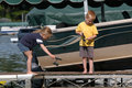 Fishing Off A Dock Stock Image - 9924221