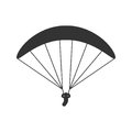 Black Isolated Silhouette Of Paraglider On White Background. Icon Of Side View Of Parachute. Royalty Free Stock Image - 99200786