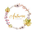 Set Of Red And Yellow Autumn Watercolor Leaves And Berries, Hand Drawn Design Foliage Elements Decoration. Royalty Free Stock Photo - 99201745