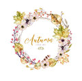 Set Of Red And Yellow Autumn Watercolor Leaves And Berries, Hand Drawn Design Foliage Elements Decoration. Royalty Free Stock Photography - 99202207
