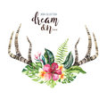Hand Drawn Watercolor Deer Horns With Tropical Flower Bouquets. Exotic Palm Leaves, Jungle Tree, Brazil Tropic Botany Royalty Free Stock Photography - 99206117