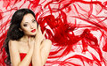 Fashion Model Beauty Portrait, Woman Over Red Waving Silk Cloth Stock Photo - 99209520