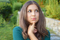 Woman Trying To Remember. Close Up Portrait Headshot Young Lady Girl With Thumb On Chin Thinking Daydreaming Deeply About Somethin Royalty Free Stock Photography - 99211647