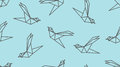 Origami Outline Bird Seamless Pattern. Royalty Free Stock Photo - 99215225