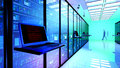 Terminal Monitor In Server Room With Server Racks In Datacenter Stock Photos - 99215873