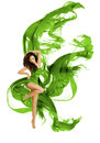 Dancing Fashion Model, Woman Modern Dance, Waving Green Dress Stock Photography - 99220392