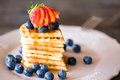 Stack Of Freshly Backed Waffles In Shape Of Heart With Berries O Stock Images - 99225764