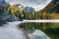 First Snow On Braies Lake. Royalty Free Stock Images - 99236639