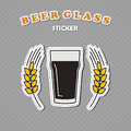 Nonic Pint Beer Glass And Two Wheat Spikes Stickers Stock Photos - 99239543