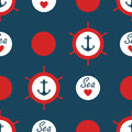 Seamless Nautical Pattern Vector With Anchors Ship Wheels Red Polka Dots And Sea Love With Heart Marine Background Vintage Retro D Royalty Free Stock Images - 99244949