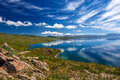Mountain Songkol Lake. Beautiful Clouds Reflected In Water Royalty Free Stock Photo - 99245675