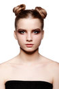 Young Teen Female Beauty Portrait With Day Makeup  And Bun Hair Stock Photography - 99259142