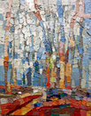 Blue Forest Abstract Acrylic Oil Closeup Texture Painting. Stock Photo - 99270960