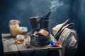 Rusty Beekeeper Tools With Honeycombs, Hats And Honey Royalty Free Stock Image - 99271776