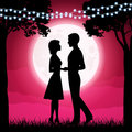Silhouettes Of Young Woman And Man On The Moon Background Royalty Free Stock Photography - 99273437