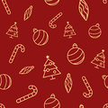 Christmas Seamless Red Pattern With Simple Yellow Icons. Ornament Ball, Ornament Icicle, Xmas Tree And Candy Cane. Stock Images - 99276934