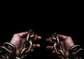 Victim, Slave, Prisoner Male Hands Tied By Big Metal Chain By Hi Royalty Free Stock Images - 99281579