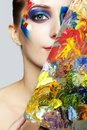 Young Female Painter With Color Palette And  Acrylic Paint On Fa Stock Photo - 99332090