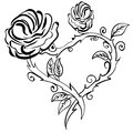 Valentine Heart, Forest Berries Sketch Rose Frame Royalty Free Stock Photo - 99338275