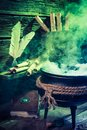 Old Witcher Cauldron With Green Mixture For Halloween Royalty Free Stock Image - 99341726