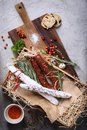 Antipasto Traditional Spanish Meat Snack With Bread And Herbs Stock Photos - 99344523