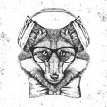 Hipster Animal Fox. Hand Drawing Muzzle Of Animal  Fox Stock Image - 99346411