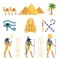 Egypt Set, Egyptian Ancient Symbols Of The Power Of Pharaohs And Gods Colorful Vector Illustrations Stock Images - 99347384