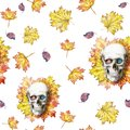 Watercolor Drawing Seamless Background Human Skull For Halloween With Autumn Yellow Leaves And Flowers In The Eye Sockets For Prin Stock Photography - 99364962