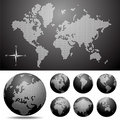 Vector Dotted Map And Globe Of The World Royalty Free Stock Photos - 9942678