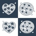 Seamless Monochrome Pizza Pattern Stock Images - 99409064