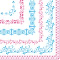 Set Of Borders With Hearts And Butterflies Blue And Pink Royalty Free Stock Images - 99412259