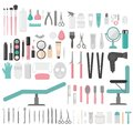 Flat Design Elements Of Cosmetology, Hairdressing, Makeup And Manicure. Spa Tools And Equipment Set. Cosmetic Instrument Isolated. Stock Images - 99425074