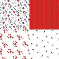 Glade Filed Small Flowers And Abstract Red Seamless Vector Pattern Set. Stock Image - 99436571