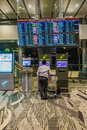 Departure Board In Changi Airport. Departure Hall Singapore Stock Photos - 99450293